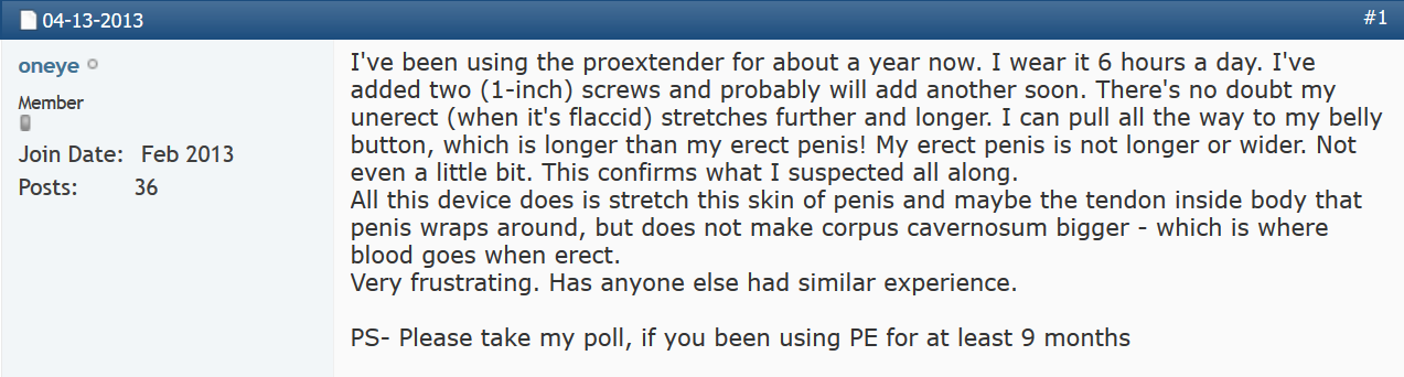 Proextender Review of No Improvement After 1 Year